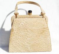 Petite Light TAN 1950's-1960's TURTLE Skin Handbag - Great Clasp!