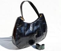 NAVY BLUE 1980's-90's Cobra Snake Skin Shoulder Bag - J. Renee - with CUFF Bracelet!
