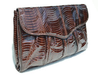 Chocolate BROWN 1980's-90's Cobra Snake Skin Clutch Shoulder CROSS BODY Bag - J. Renee