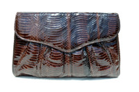Chocolate BROWN 1980's-90's Cobra Snake Skin Clutch Shoulder CROSS BODY Bag - J. Renee