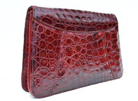Dark RED 1950's-60's CROCODILE Caiman Skin CLUTCH - ARGENTINA