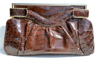 "XL 14"" 1940's-50's Chocolate Brown Deco Style ALLIGATOR Skin Clutch Bag - ARGENTINA"