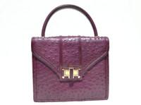 Stunning PLUM Purple 1980's-1990's OSTRICH Skin Handbag - COMTESSE