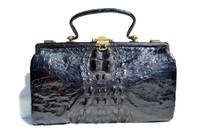 Beautiful BLACK 1920's-30's EDWARDIAN Hornback Alligator Handbag