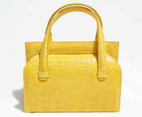 YELLOW 1990's-2000's Handmade MAXIMA Alligator Belly Skin Handbag - Titti Del'Aqua - ITALY