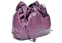 "Late 1990's - 2000's XL 15"" x 11"" Dark Eggplant PURPLE OSTRICH Skin Drawstring Handbag Shoulder Bag"