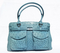 Baby BLUE 1990's-2000's Ostrich Skin Handbag Shoulder Bag