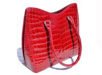 Stunning RED 1990's-2000's ALLIGATOR Skin Handbag Shoulder Bag