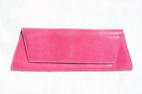 Bright PINK Early 2000's Lizard Skin CLUTCH Shoulder Bag - LAI!