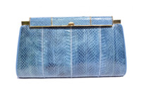 Gorgeous BLUE 1970's-80's COBRA Snake Skin Clutch Shoulder Bag