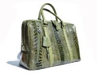 XXL 17 x 12 Moss GREEN 1990's-2000's Ostrich Leg Skin Handbag  Travel Bag Brief - Lock & Key!