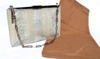 1990's-2000's GUCCI Iridescent Pale Green Silver OSTRICH Leg Handbag
