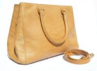 Early 2000's XL TAN ALLIGATOR Belly Skin Handbag Shoulder Bag SATCHEL - LAI