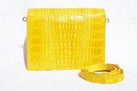 Bright YELLOW 1990's-2000's Handmade MAXIMA Crocodile Belly Skin CROSS Body Shoulder Bag