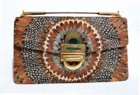 XL Versatile 1970's-1980's PEACOCK Feather CLUTCH Handbag Shoulder Bag