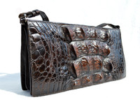 Unisex BOHO ESPRESSO Brown 1960's-70's Hornback Crocodile Skin Shoulder Bag