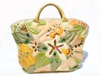 2000's XL BRACCIALINI Abstract JEWELED Floral PYTHON Snake Skin & Canvas SATCHEL Handbag