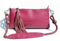 Matte PINK 2000's ALLIGATOR Belly Skin CLUTCH Shoulder Bag - SUAREZ - TASSLE!