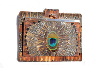 Outstanding XL 1980's PEACOCK & Pheasant Feather Wallet & Change Purse