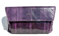 Dark PURPLE 1980's-90's Cobra Snake Skin Clutch Shoulder Bag - J. Renee