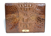 Fabulous Unisex Rich Chocolate Brown 1960's Hornback CROCODILE Skin FOLIO Clutch Shoulder Bag
