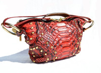 ROCKSTAR 1990's RED Studded PYTHON Snake Skin Shoulder Bag - RASHEEDAH