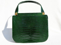 Gorgeous EMERALD GREEN 1990's CROCODILE Porosus Skin Handbag - Secret Clasp!