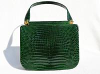 Gorgeous EMERALD GREEN 1990's CROCODILE Porosus Skin Handbag - Secret Clasp!