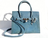 Lovely 1990's BABY BLUE Birkin Style LIZARD Skin KELLY Bag