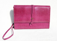 Magenta Purple 1990's Karung SNAKE Skin CLUTCH Shoulder Bag - Jay Herbert