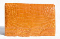Petite ORANGE 2000's ALLIGATOR Belly Skin CLUTCH Shoulder CROSS BODY Bag