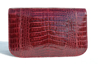 1990's- Early 2000's Burgundy RED CROCODILE Belly Skin Clutch Shoulder Bag