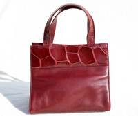 Dark Burgundy RED Handmade Early 2000's Alligator Belly Skin & Leather Handbag Mini Tote - Italy