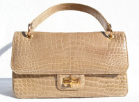 1990's Sand TAN CROCODILE Porosus Belly Skin Handbag