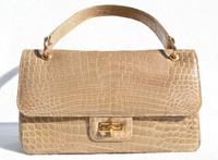 1990's Sand TAN CROCODILE Porosus Belly Skin Handbag