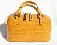 Mustard YELLOW 1990's-2000's CROCODILE Porosus Skin Handbag Shoulder Bag