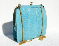 TURQUOISE Blue 1970's-80's COBRA Snake Skin Clutch Shoulder Bag