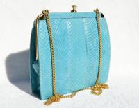 TURQUOISE Blue 1970's-80's COBRA Snake Skin Clutch Shoulder Bag