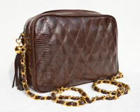 Chocolate BROWN Chanel-Style 1980's-90's Quilted LIZARD Skin Shoulder Bag - WALTER KATTEN