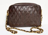 Chocolate BROWN Chanel-Style 1980's-90's Quilted LIZARD Skin Shoulder Bag - WALTER KATTEN