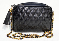 Jet BLACK Chanel-Style 1980's-90's Quilted LIZARD Skin Shoulder Bag - WALTER KATTEN