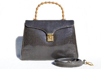 GRAY 1990's-2000's LANA OF LONDON Lizard Skin Handbag SHOULDER Bag