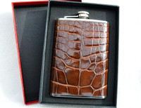 Custom Chocolate Brown ALLIGATOR Belly Skin 8 Oz. Stainless Hip FLASK - NEW!