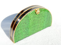Deco Style GREEN 1970's-80's COBRA Snake Skin CLUTCH Shoulder Bag  - ELITE!
