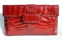 "XXL Gorgeous 15"" RED 1950's ALLIGATOR Belly Skin Clutch Bag - ARGENTINA"