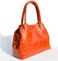 Remarkable XXL ORANGE Flame 1990's-2000's CROCODILE Porosus Skin Handbag Shoulder Bag