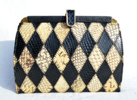 1990's Structured Yellow & Black Patchwork COBRA Snake Skin CLUTCH Shoulder Bag