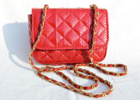 Lovely Chanel-Style 1990's RED Quilted Snake Skin Shoulder Cross Body Bag