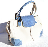 XXL 17 x 10 2000's Blue CROCODILE Skin & Canvas LINEN Handbag SHOULDER Bag