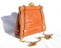 Cognac 1990's HELENE  CROCODILE Belly Skin Crossbody Shoulder Bag